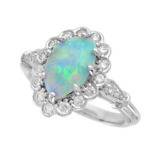 47704O Australian Opal & Diamond Ring in 14KT White Gold