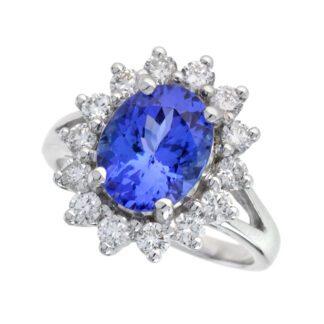 4513TZ Classic Tanzanite & Diamond Ring in 14KT White Gold