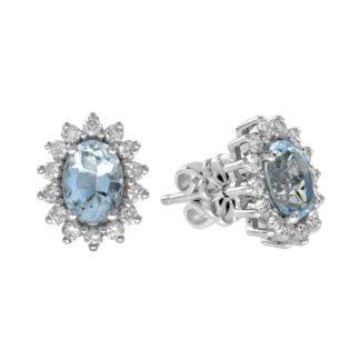 46521Q Classic Aquamarine & Diamond Earrings in 14KT White Gold