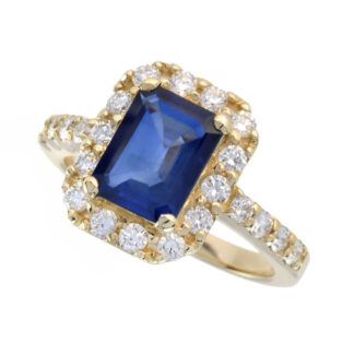46534S Classic Sapphire & Diamond Ring in 14KT Yellow Gold