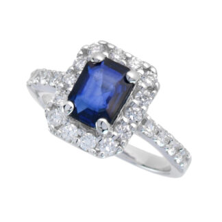 4653S Classic Sapphire & Diamond Ring in 14KT White Gold