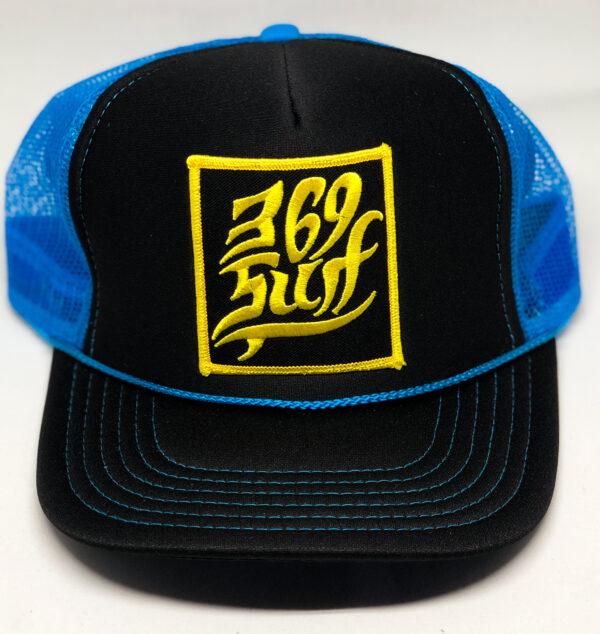 369 Surf Single Fin Patch Trucker Hat Black/Blue/Gold