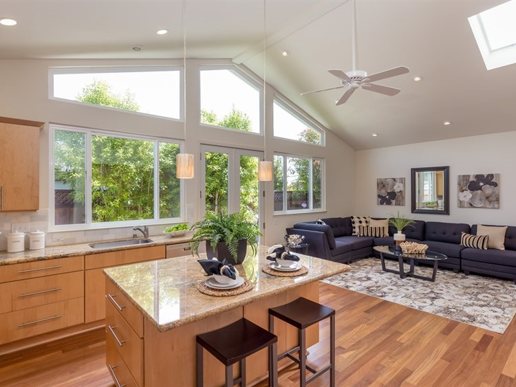 Large vaulted ceiling & skylights