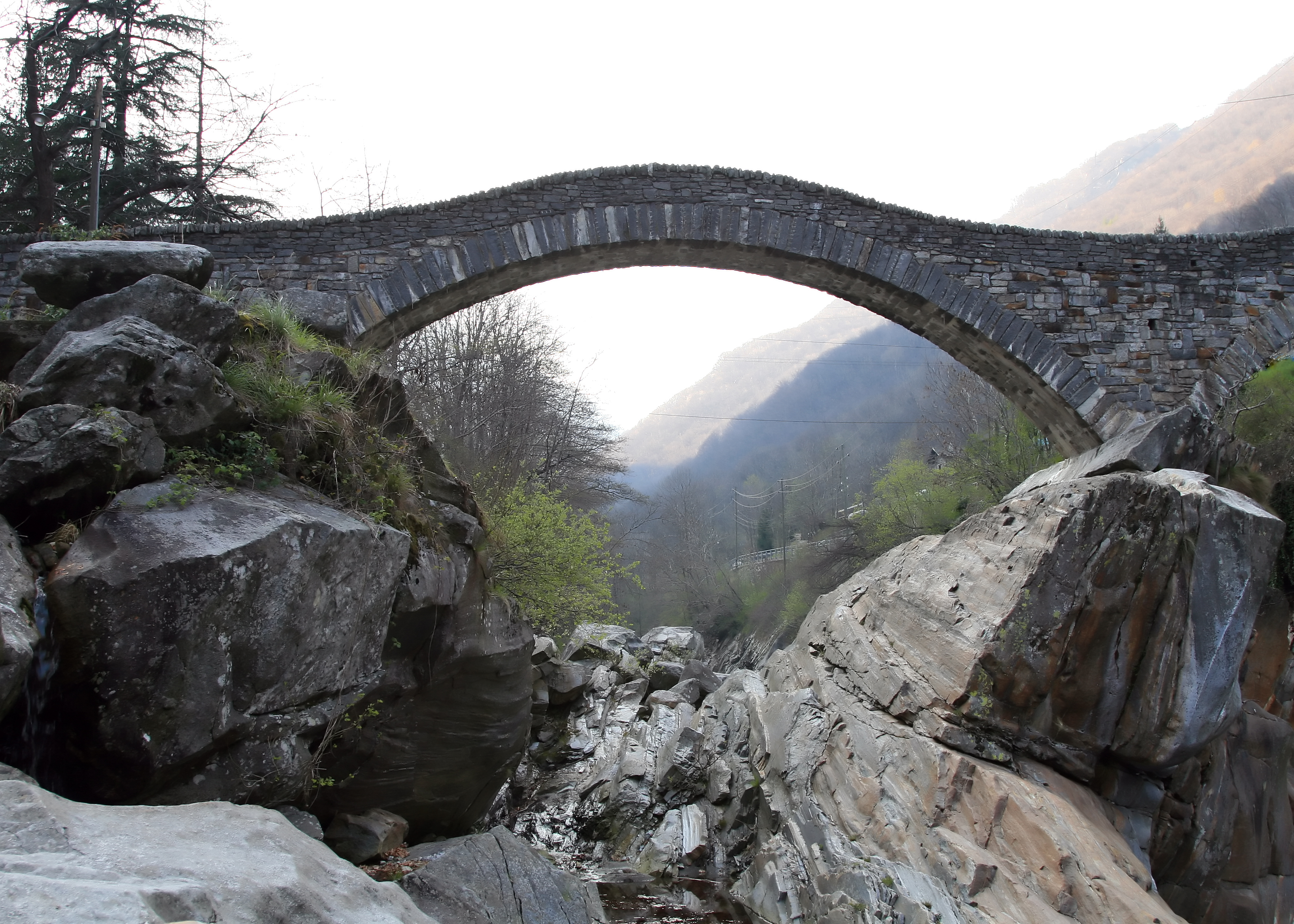 Ancient arch bridge in Lavertezzo, Switzerland