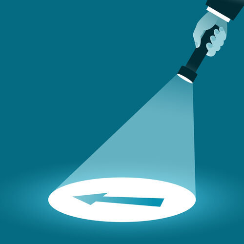 Search and select direction. Hand with a flashlight shining in the dark. Business concept. Vector illustration
