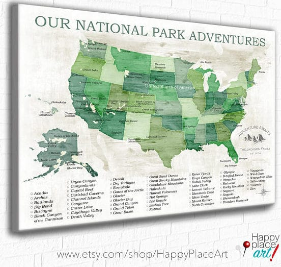Epic US National Park Wall Maps to help you keep track of ...