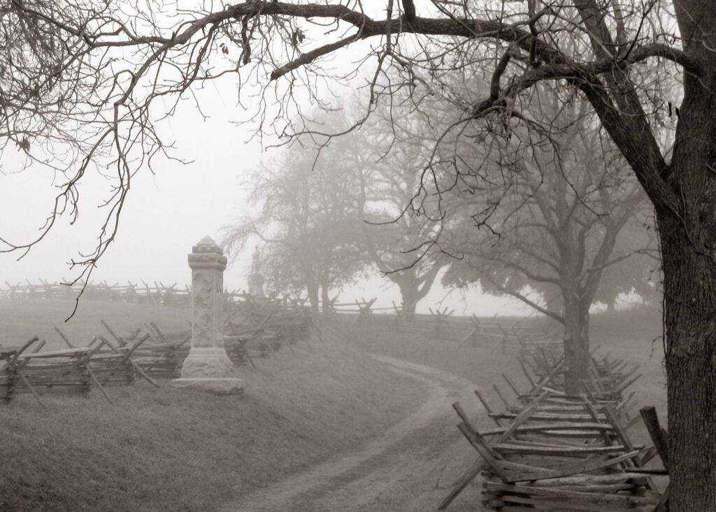 A foggy morning on Antietam National Battlefield - Haunted National Parks