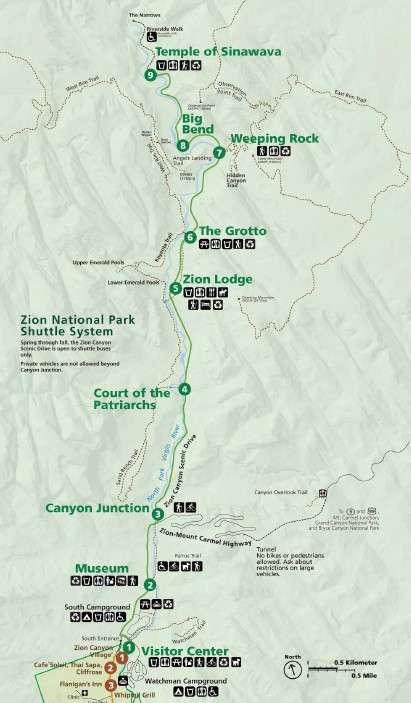 Map of the Zion Shuttle Route