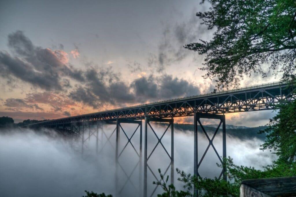 A foggy sunrise at New River Gorge Bridge
