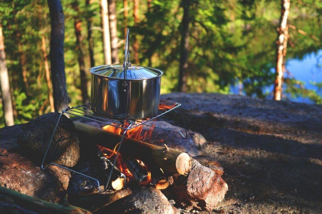 A pot on a campfire