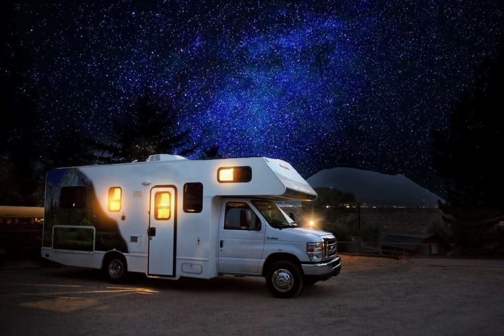 A rental RV under the stars.