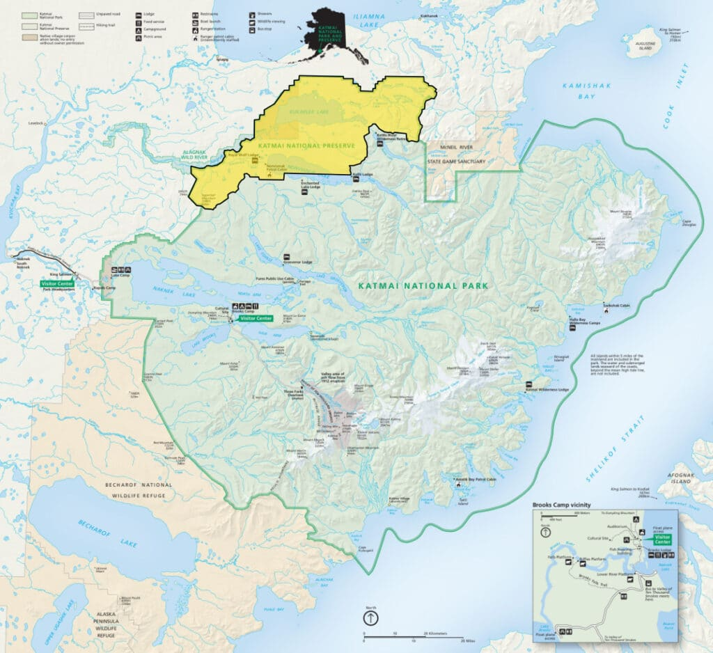 Map of Katmai National Park with the Preserve section marked in Yellow