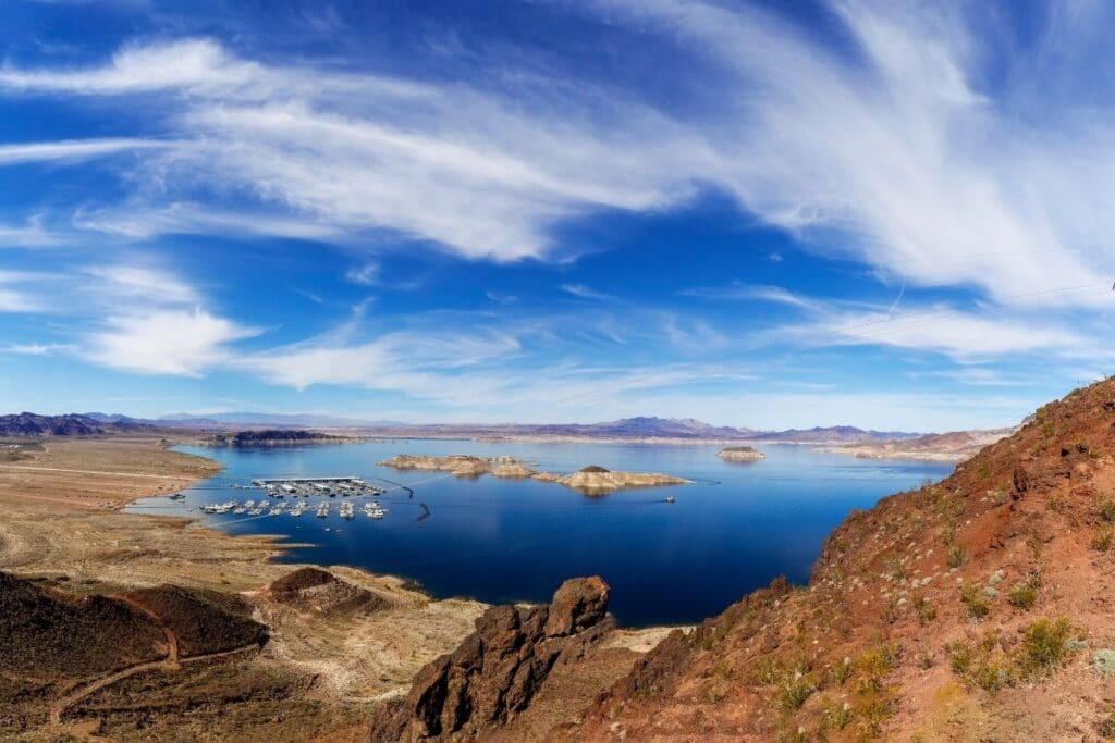 A sweeping view of a marina on Lake Mead.