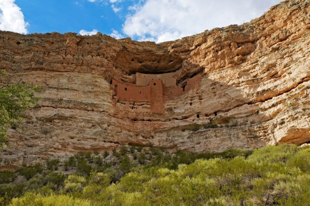 A cliff dwelling on the side of cliff