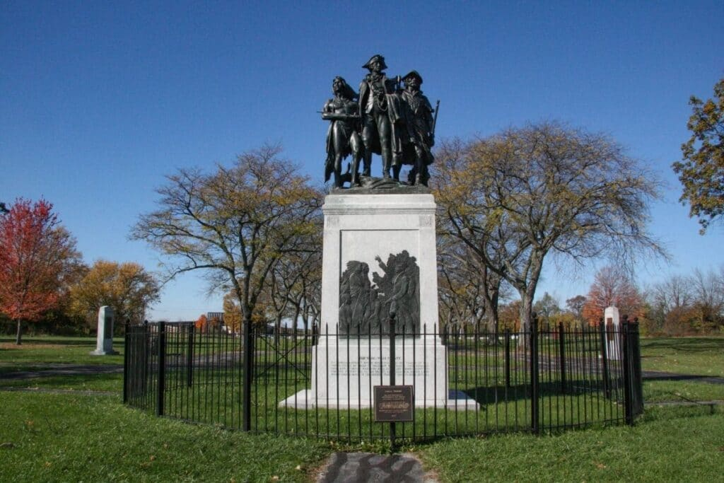 The statue at Fallen Timbers Battlefield and Fort Miamis National Historic Site