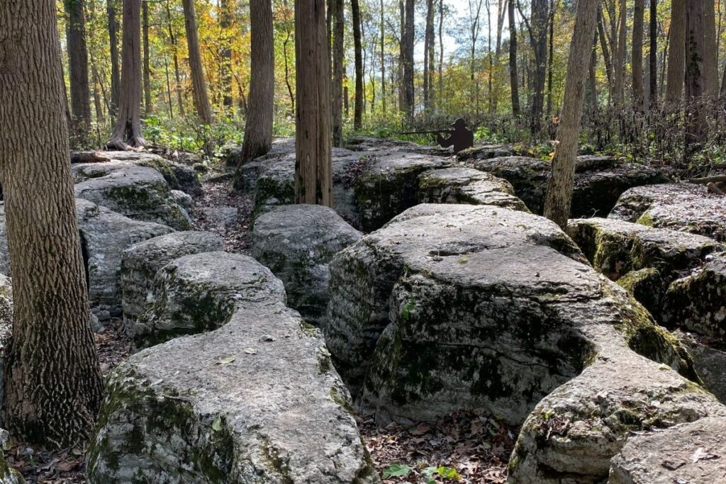 Hell's Half-Acre.  A series of rock formations with metal soldiers