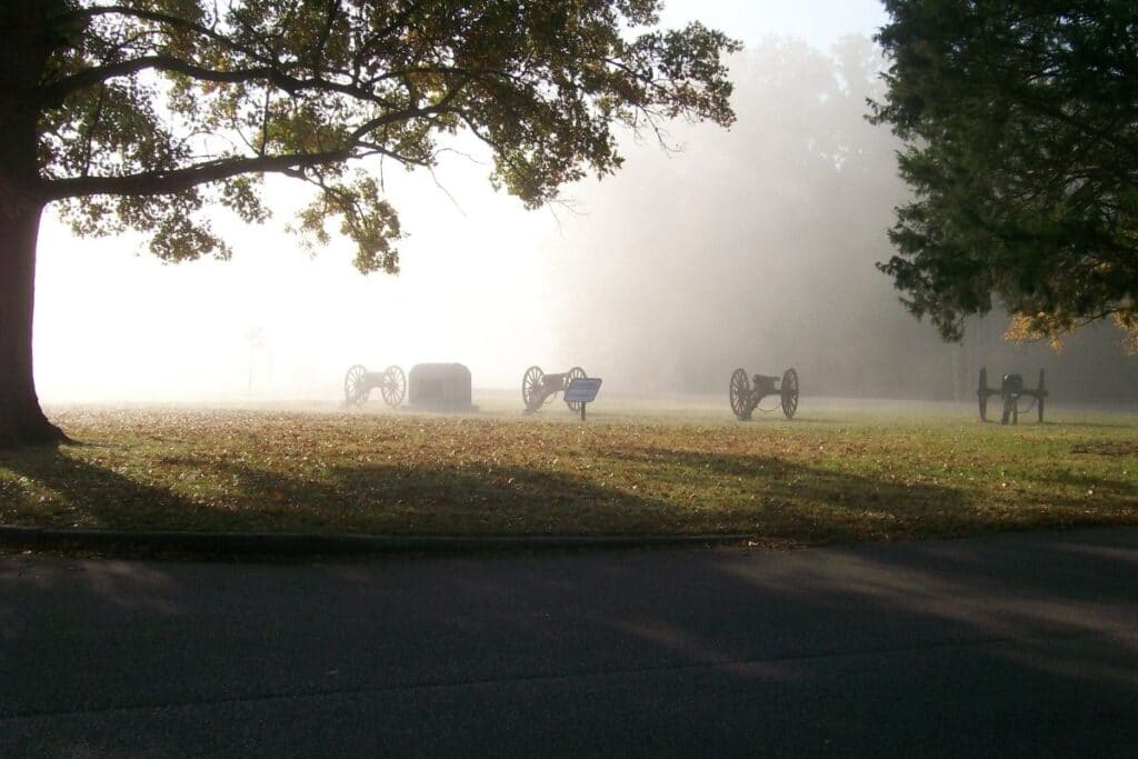 4 Civil war cannons on a misty morning