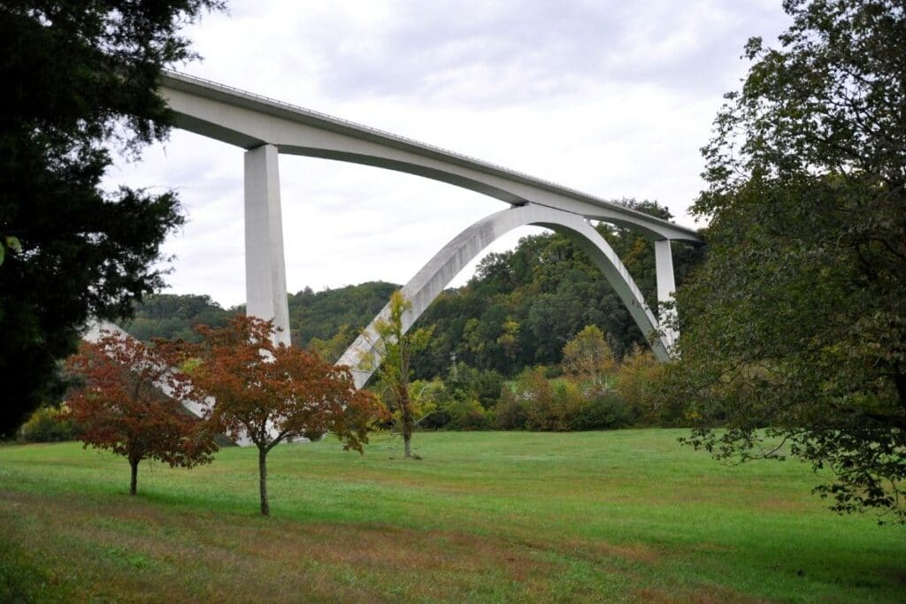 A twin arch bridge over a valley