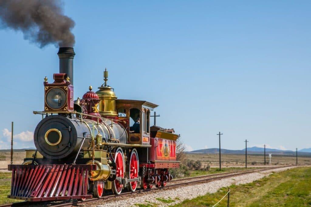 A steam locomotive on the tracks