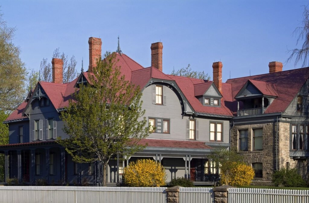 James A. Garfield's gray and red roofed house