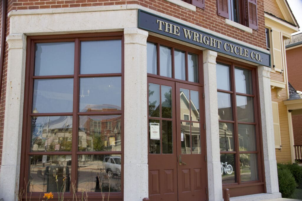 The store front of the Wright Cycle Co