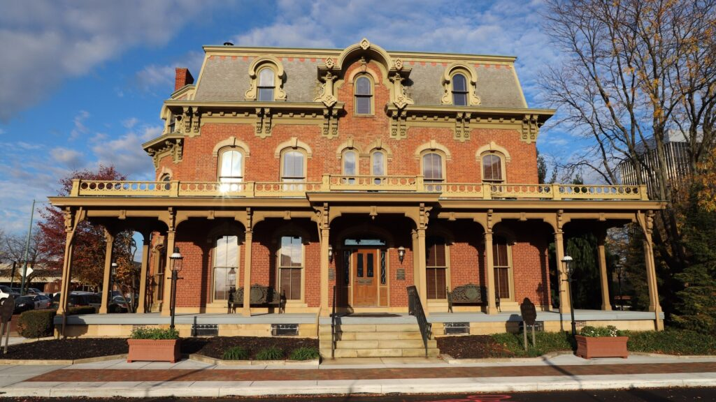 The Saxton house is a Gerogry style mansion made of red bricks