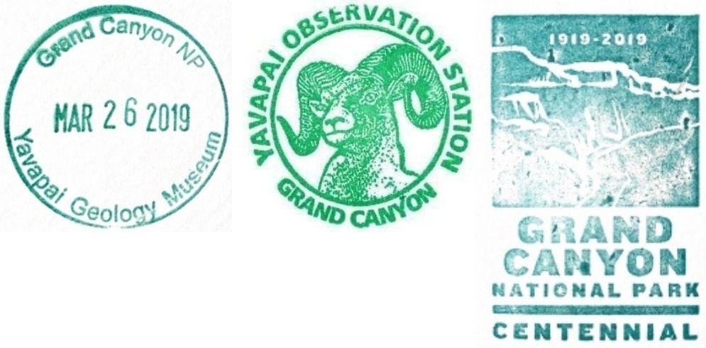 Grand Canyon National Park Passport Stamps - Yavapai Observation Station Bookstore