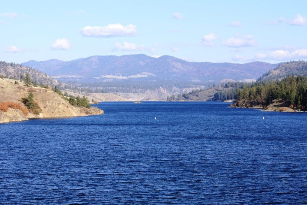 A blue lake with rolling hills and a conifer forest