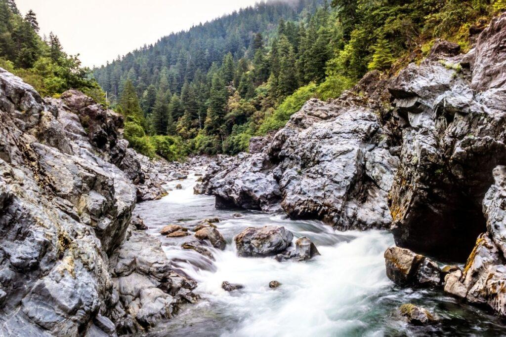 A river running through a rocky canyon.