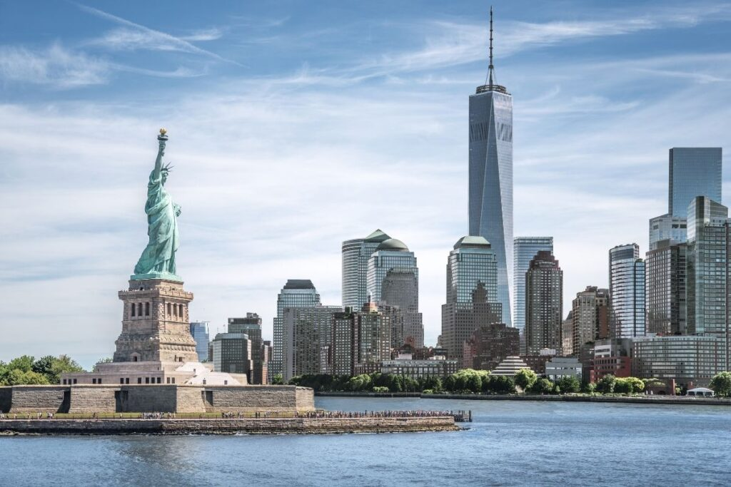 Statue of Liberty with the New York Skyline in the background