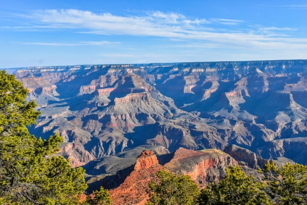 Looking at the valley and ridges of the grand Canyon