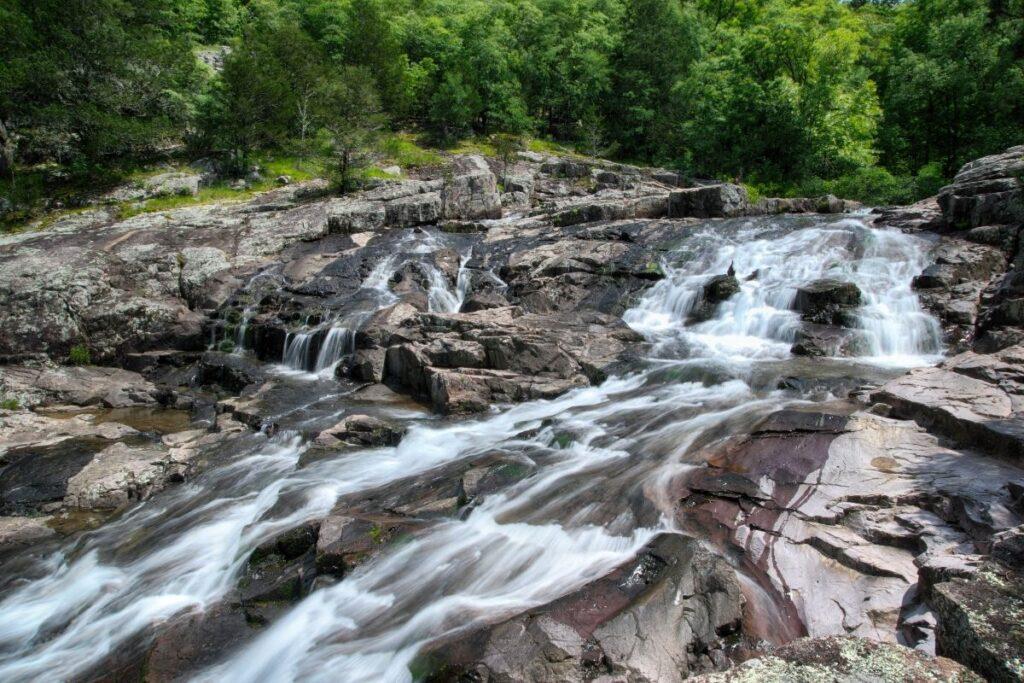 A shallow rock waterfall