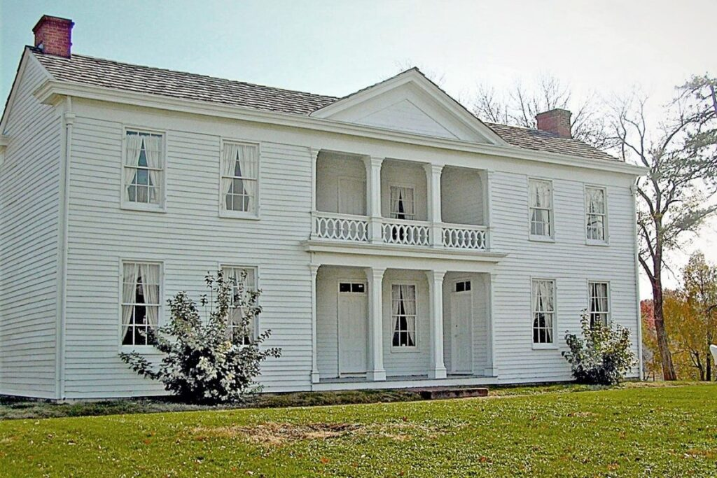 A white two story house
