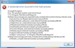 "Skype ""A JavaScript error occurred in the main process"""