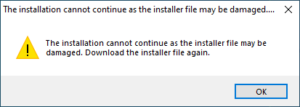 sửa lỗi photoshop The installation cannot continue as the installer file may be damaged