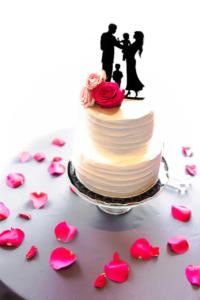 wedding cake, flowers, petals