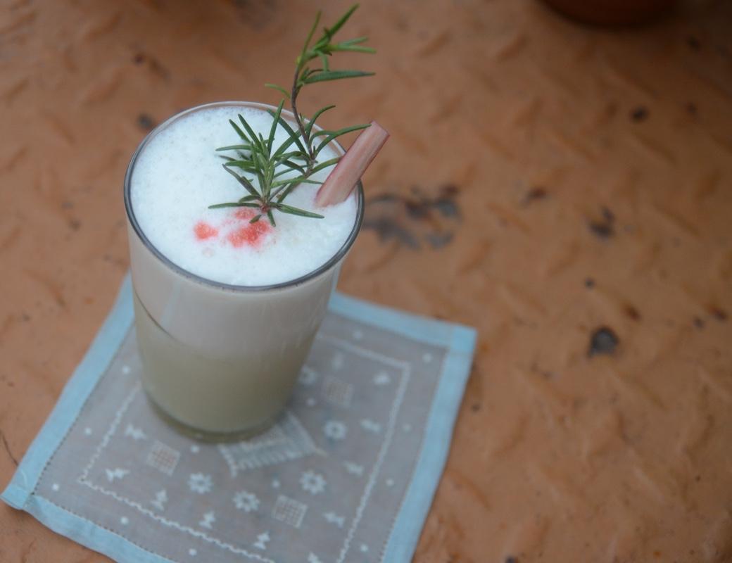 Rhubarb Rosemary Flip Cocktail