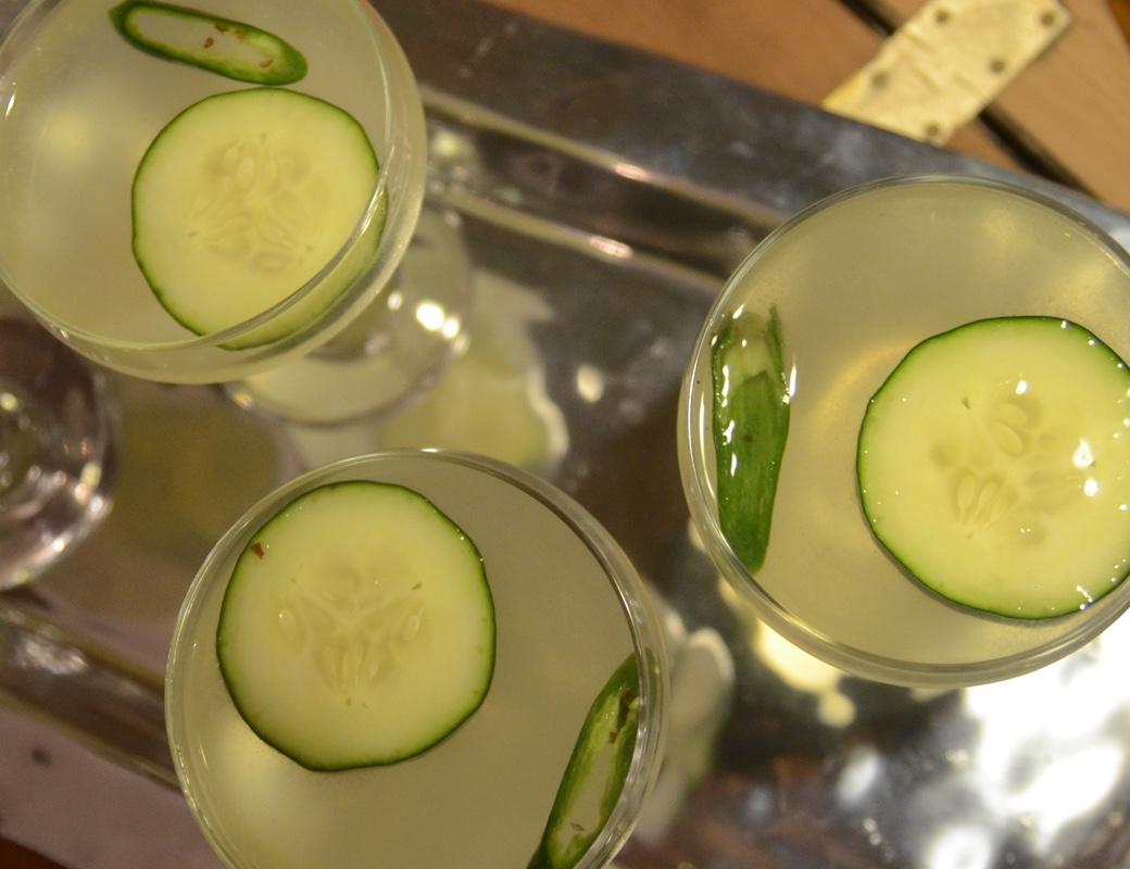 serrano cucumber gimlet cocktail