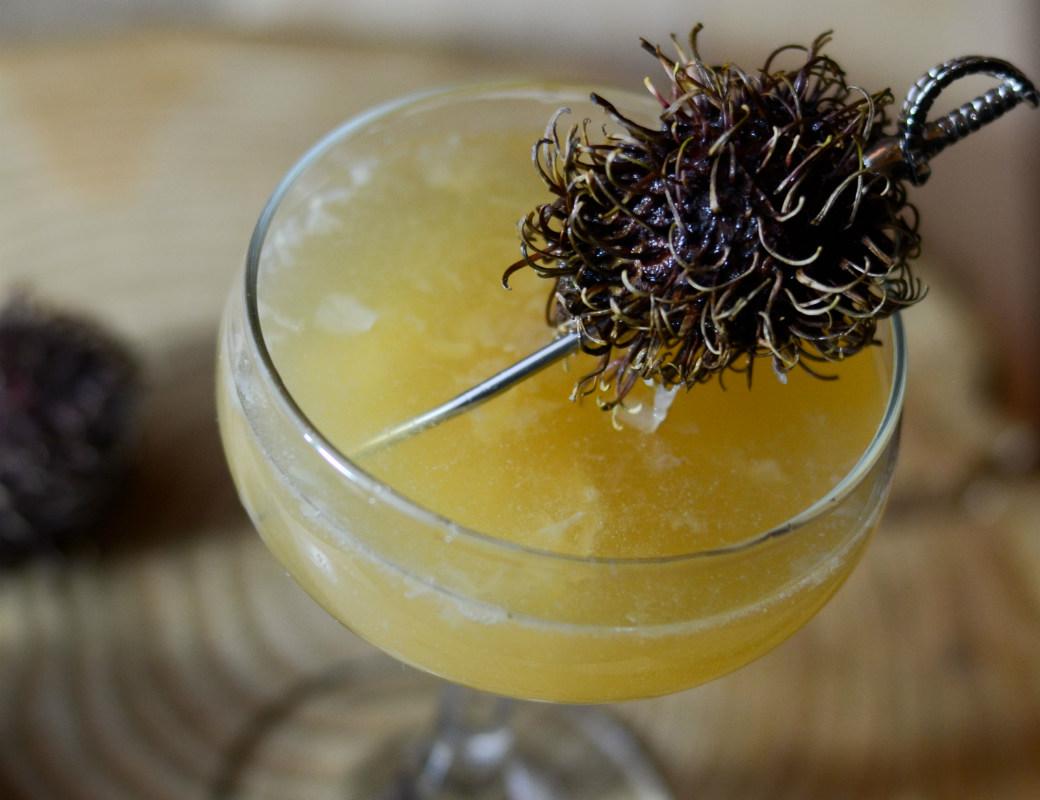 rambutan vanilla cocktail coupe glass