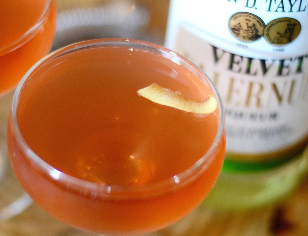 red velvet lucky peach cocktail