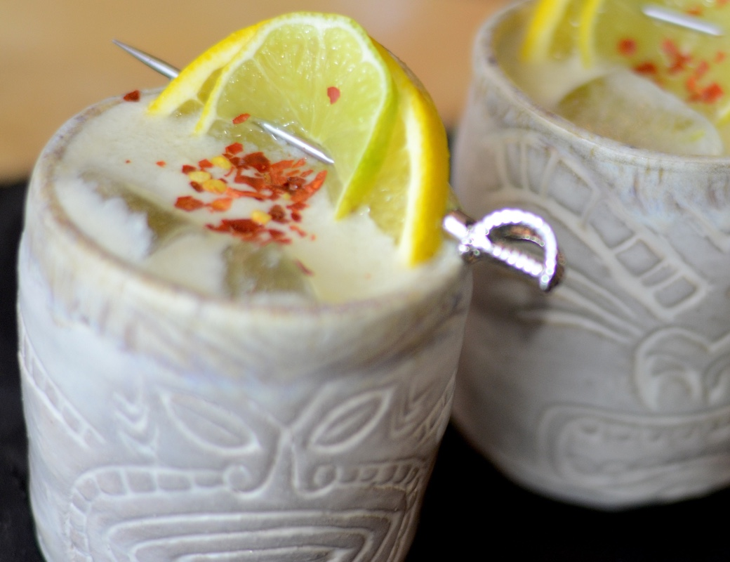 tiki cocktail with red pepper