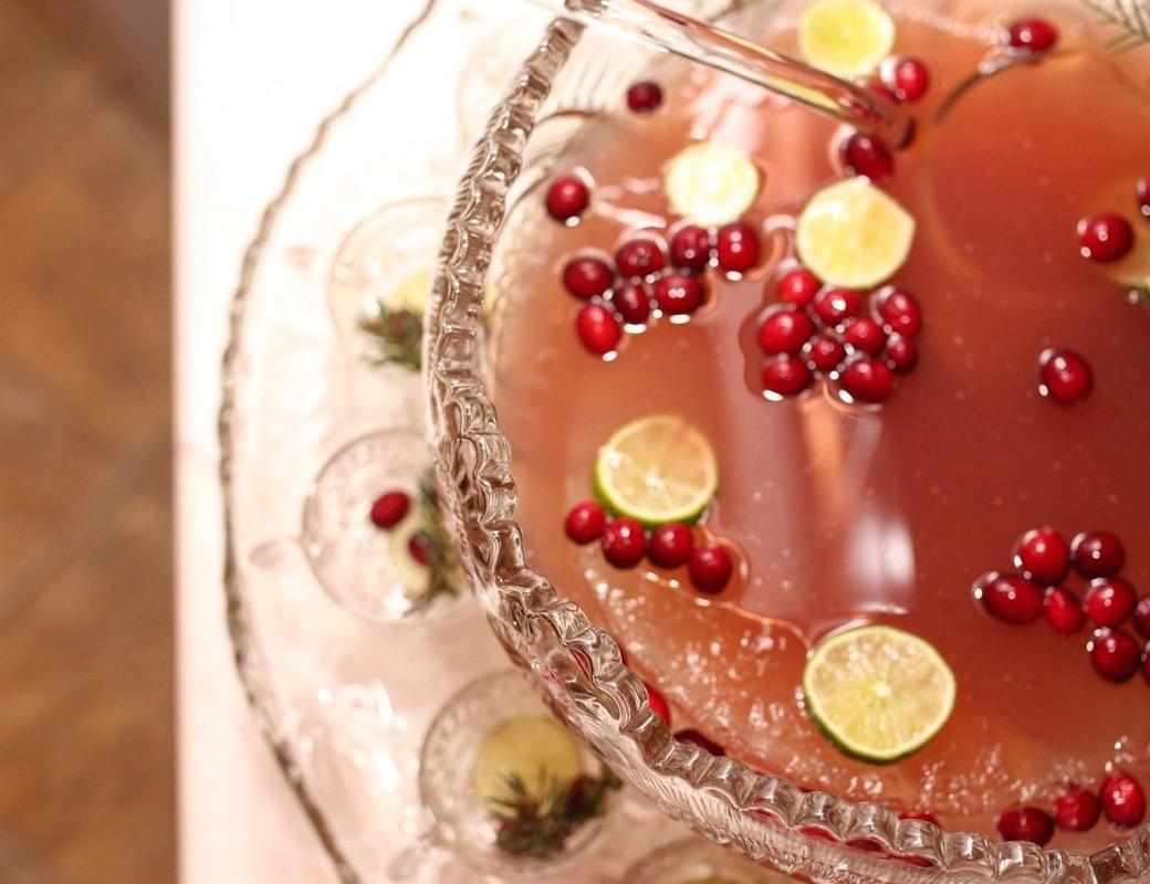 cranberry ginger punch in vintage bowl