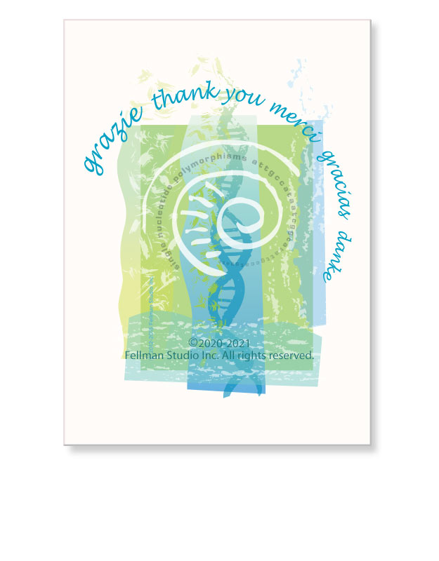 DNA-themed Thank you greeting card