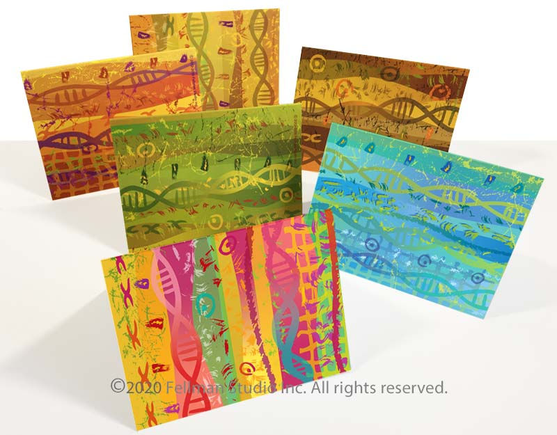 """Set of six """"Double Helix"""" notecards"""