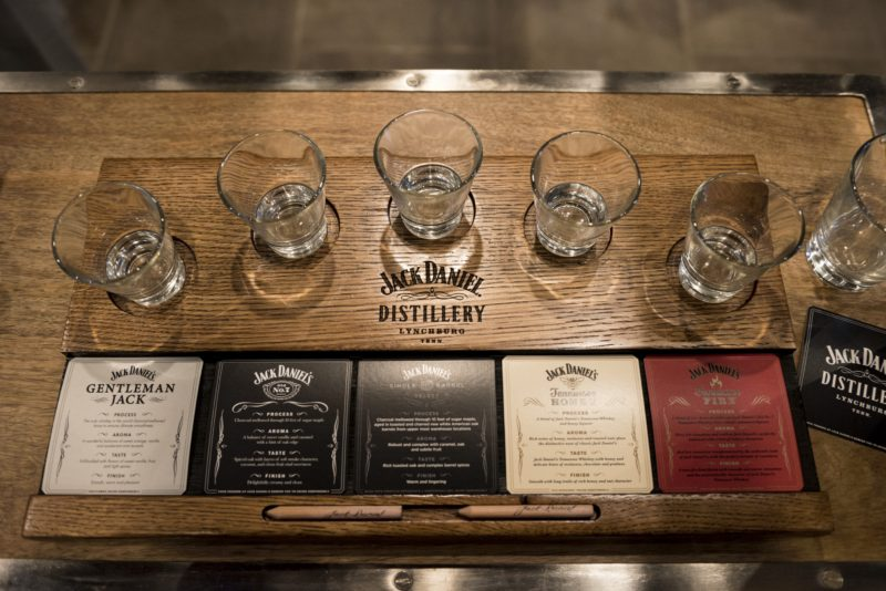 Jack Daniels flight of whiskey on the tennessee whiskey trail
