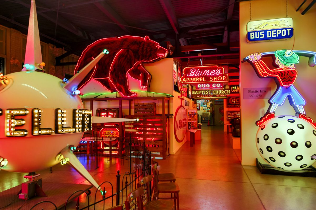 The signs at the American Sign Museum come from all over the United States and represent every decade going back a century. Photo CREDIT: American Sign Museum