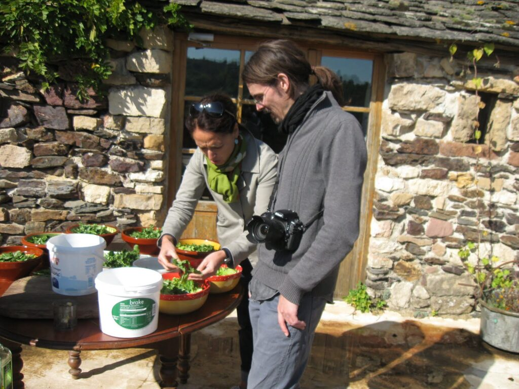 At the farmhouse, we make a salad with our foraged greens.