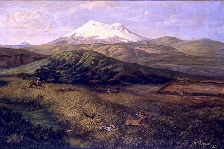 Rafael Troya (1845 - 1920)- El Antisana o La cacería del venado (1918). Archivo Histórico del Banco Central del Ecuador, Quito.