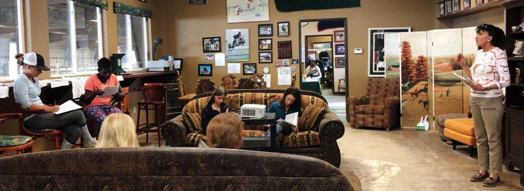 Junior Ambassadors listening to Julie Winkel at the clinic