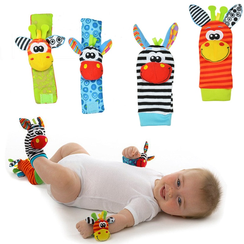 Baby's Multi-colored Animal Rattle Socks and Wristband Sets